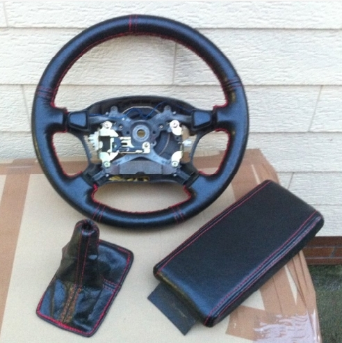 Steering wheel Leather / Lenkrad Leder RED